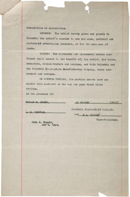 """Al JOLSON (Singer): Contract for """"Swanee."""""""