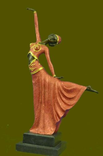 Signed Chiparus Elegant Dancer Extend Her Legs Apart Bronze Sculpture Artwork - $174.30
