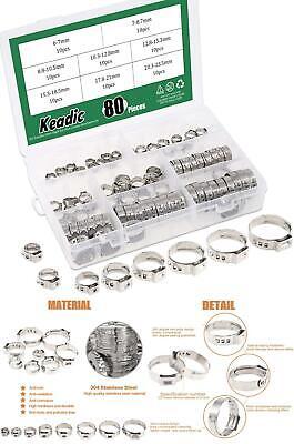 Keadic 80pcs 14-1516 304 Stainless Steel Single Ear Hose Clamps Clips Pex Pi