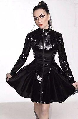 Misfitz top quality black Pvc skater mistress dress size 26 TV Goth Cross Dress