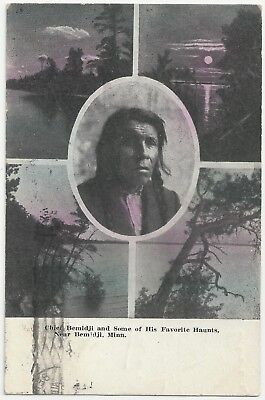 Chief Bemidji Favorite Haunts Minnesota 1912 MN Native American Indian Postcard