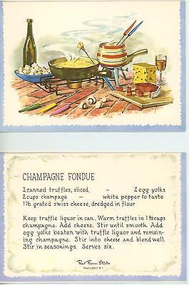 VINTAGE HAM MUSHROOMS WINE TRUFFLE CHEESE CHAMPAGNE FONDUE RECIPE CARD ART PRINT