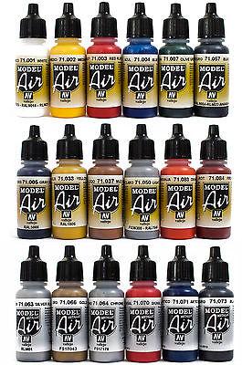 Vallejo Airbrush Farben Set 18x 17ml *Basis - Bunt - Metallic Airbrushfarben