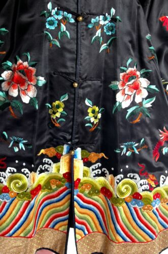Antique  Chinese Coat Robe Embroidered Magnificent Lishui Sea Waves