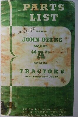 John Deere Tractor Model A Awh Aw An Anh Styled Parts Manual Sn 552000-up
