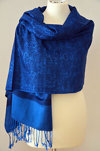 Pashmina Schal Tuch Stola Paisley gewebt 100% Viskose Royalblau ca.190x72cm