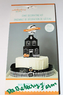 HALLOWEEN HAUNTED HOUSE  PARTY CAKE DECORATING KIT 19 PC EASY TO USE KIM - Multi Colored Halloween Cake