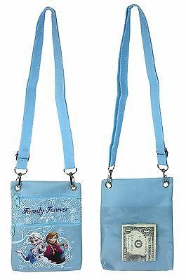 Disney Frozen Blue Elsa Anna Wallet Camera Pouch Bag Purse Shoulder Strap 7.5
