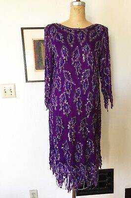 VTG Scala Beaded Dress 20s Flapper Gatsby Purple Sequin Dress  - Long Sleeve Flapper Dress