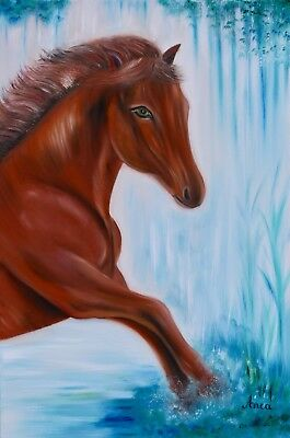 Used, Original horse painting, horse oil painting on canvas, horse painting for sale  Shipping to Ireland