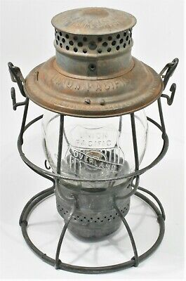 """Vintage Railroad Lantern Globe Lamp UNION PACIFIC UP EMBOSSED """"OVERLAND ROUTE"""""""