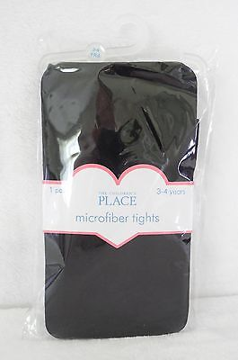 THE CHILDREN'S PLACE MICROFIBER TIGHTS : BLACK : AGE 3-4 YEARS