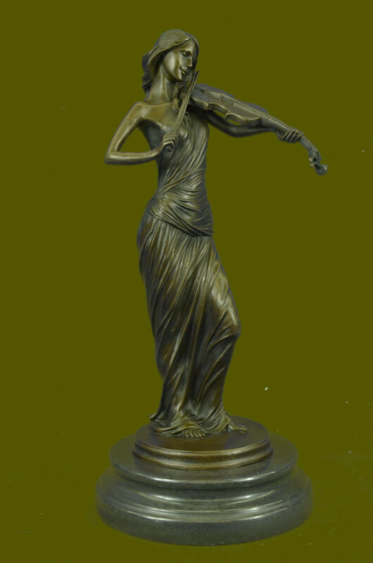 Handcrafted Gorgeous Lady Violinist Violin Player Bronze Sculpture Home Figure