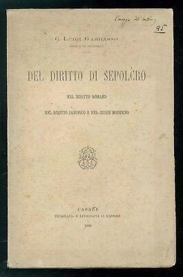 GARBASSO LUIGI C. DEL DIRITTO DI SEPOLCRO CASSONE 1893 DIRITTO ROMANO CANONICO