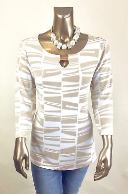 Chicos Travelers  New 3  Xl  White Ten Geo Key Hold Detail Neck Tunic  96