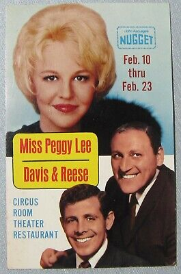 Vtg Postcard PEGGY LEE & DAVIS & REESE at the NUGGET Sparks (East Reno) Nevada