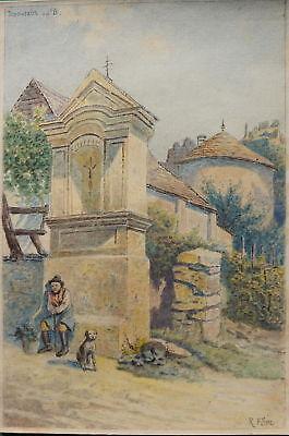 Rudolf Pöpl, Dürnstein, Wachau, Winzer mit Hund, Aquarell,