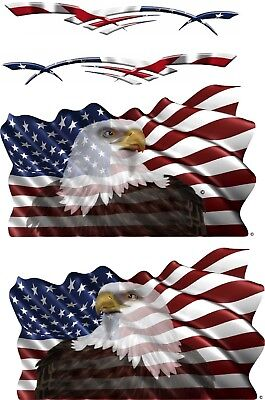 """VINYL Rv Eagle Vehicle USA Flag Boat Car Wall Art Truck Sticker Decals LARGE 96"""""""