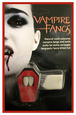 HALLOWEEN WHITE VAMPIRE DRACULA FANGS CAPS TEETH FANCY DRESS WITH PUTTY ADHESIVE - Halloween Vampire Fangs With Putty