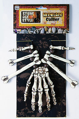 Skeleton Hand and Bones Necklace Voodoo Witch Dr. Caveman Costume Accessory - Caveman Bone Necklace