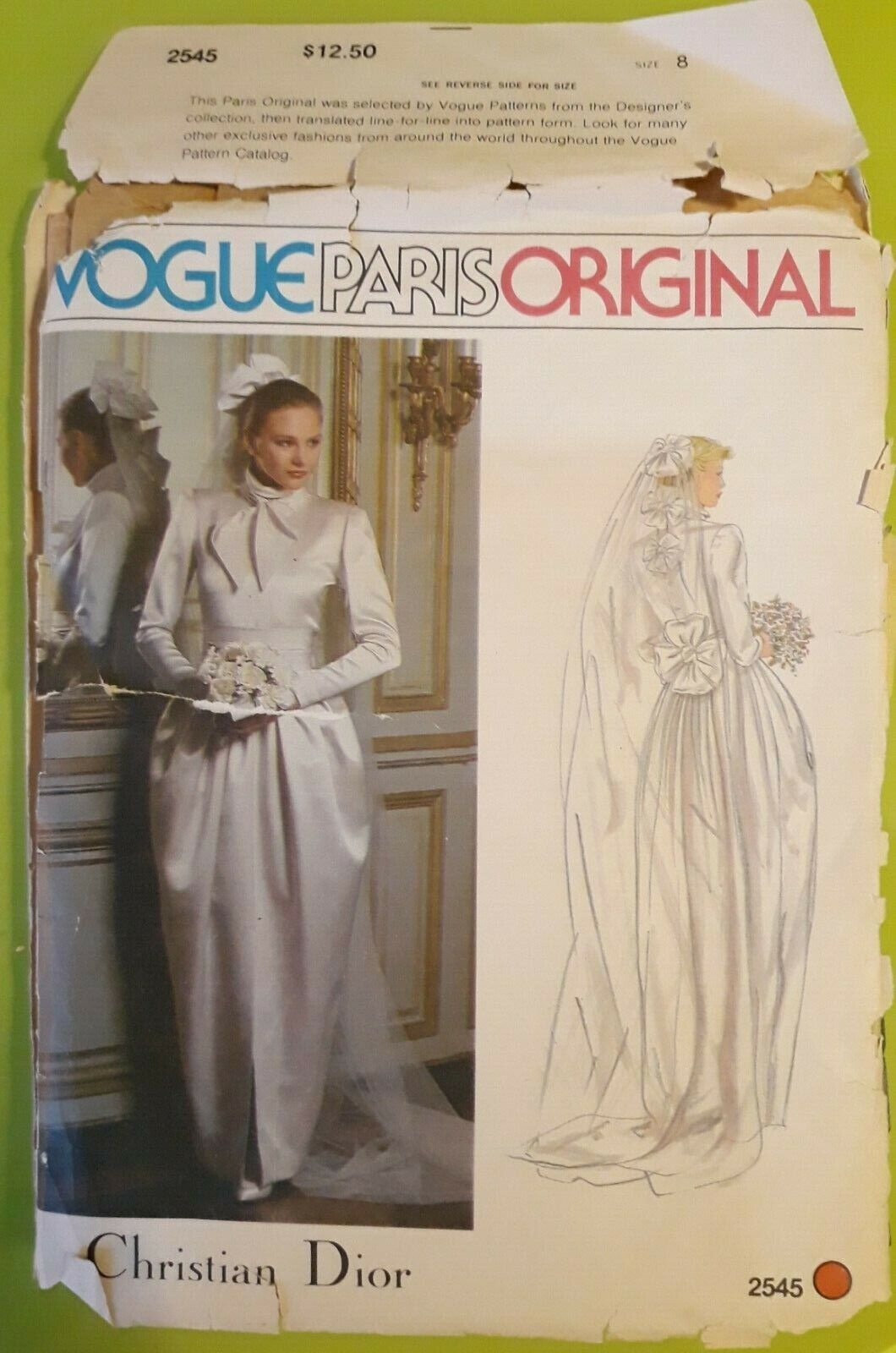 Vogue paris original, patron robe de mariée christian dior, t.8