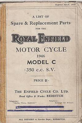 ROYAL ENFIELD 250cc SV MODEL C ORIG. 1946 FACTORY ILLUSTRATED PARTS CATALOGUE