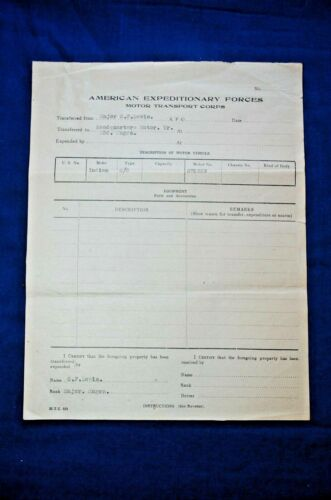WWI AEF Motor Transport Corps, 23rd Engineers, Transfer for Indian Motorcycle