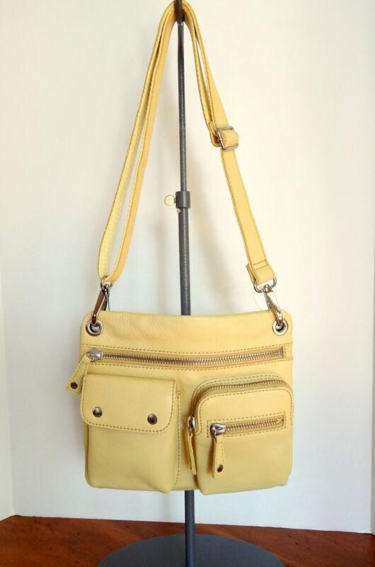 Fossil Sutton Leather light Yellow Crossbody Bag w/Detach.,Adj, Strap  NWT  $158