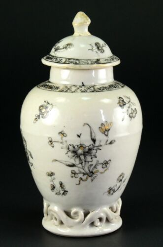 ~1735-1796 QIANLONG Qing Chinese Fine Porcelain Tea Caddy Black & White Floral