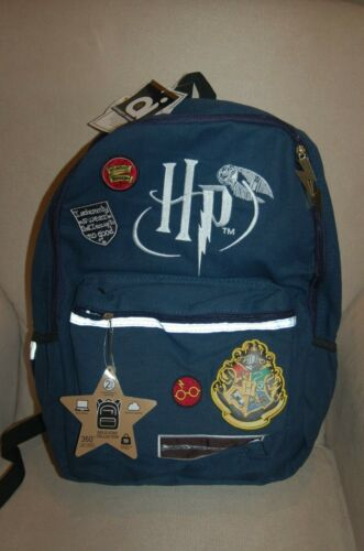 NWT Harry Potter Licensed Embroided Patches Backpack Bookbag Blue Tech Sleeve