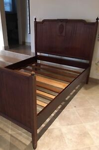Antique mahogany solid wood double bed