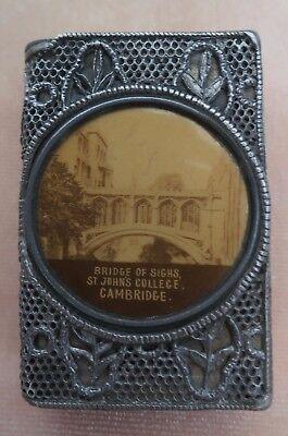****RARE Vintage  St John Cambridge PEWTER Vesta Match Safe Case Bridge of Sighs
