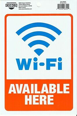 Wi-fi Available Here Adhesive Sticker Decal Wifi Sign Door Window Cosco 098359