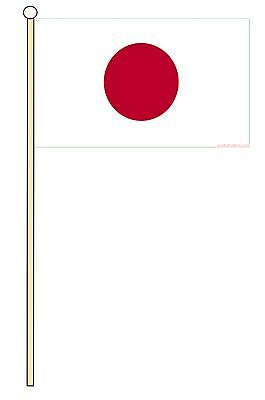"JAPAN 18"" x 12"" LARGE HAND WAVING COURTESY FLAG & POLE"