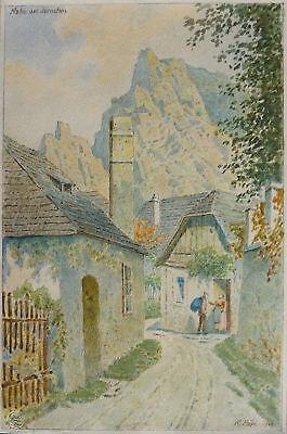 Rudolf Pöpl, Dürnstein, Wachau, Strassenszene, Aquarell, 192