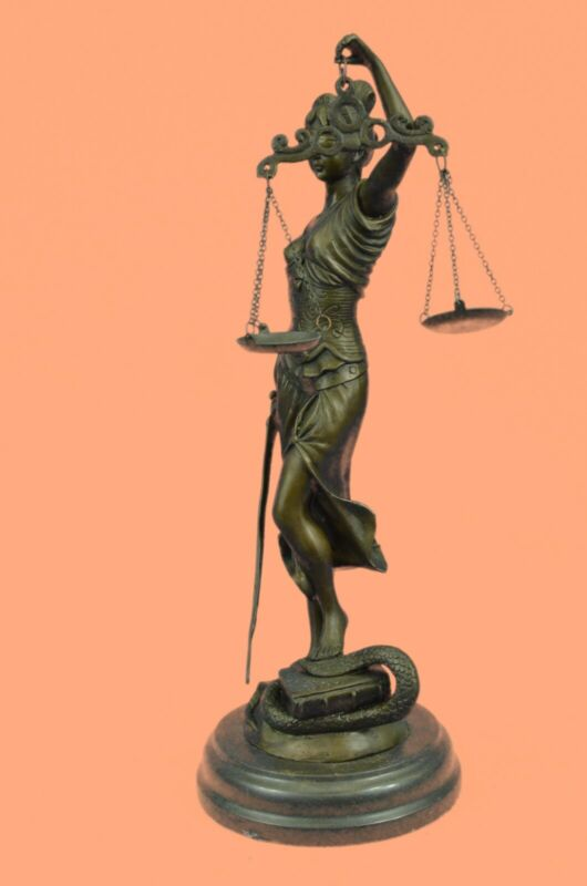 100% Real Bronze Statue with Marble Lady Blind Justice Scales Lawyer Sculpture