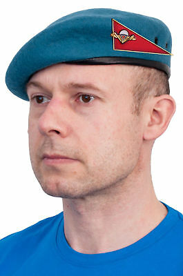 Original Russian USSR Military VDV (Airborne) beret with ugolok (badge) (Blue) Airborne Beret