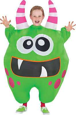 Inflate Scareblown Green Child Costume Monsters Cute Kids Theme Halloween - Green Themed Halloween Costumes