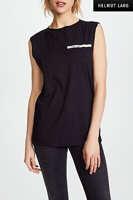 HELMUT LANG RAW EDGE MUSCLE BLACK TEE. MADE IN PORTUGAL. NWT $115. SZ S