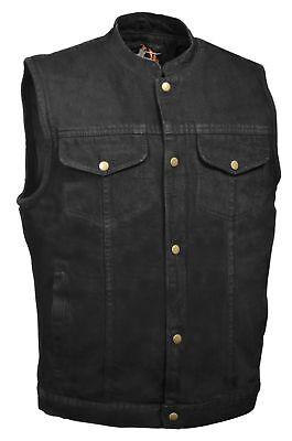 Men's Concealed Carry Black Denim Outlaw biker vest - SOA Style- snap -