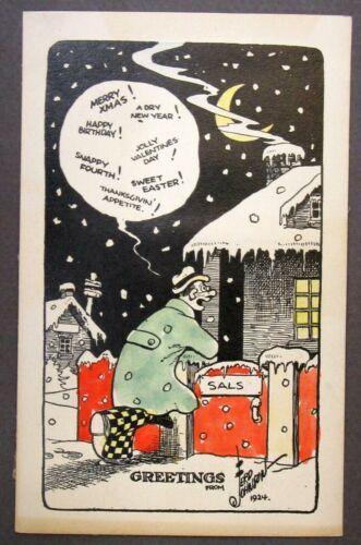 original 1924 Moon Mullins cartoonist FERD JOHNSON personal issue Christmas card