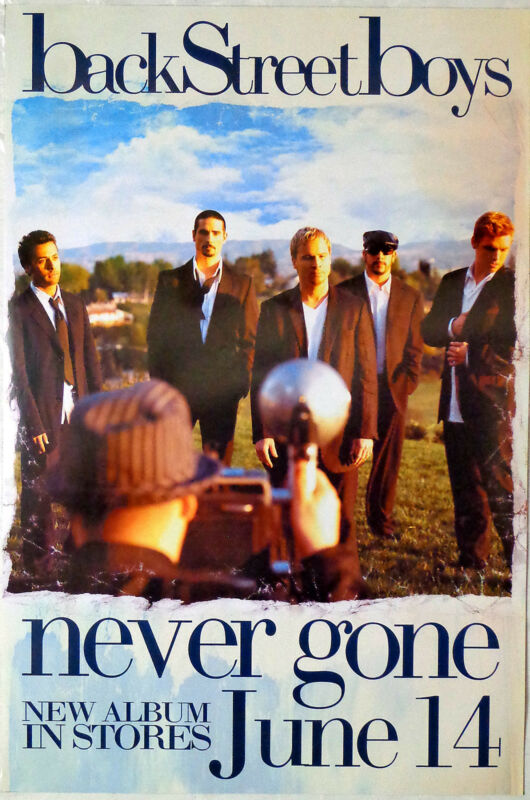 BACKSTREET BOYS   -   NEVER GONE   -   ORIGINAL ROLLED ROCK PROMO POSTER  (2005)
