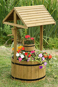 Smart Garden Woodland Wishing Well Wooden Planter Ornament 1m High