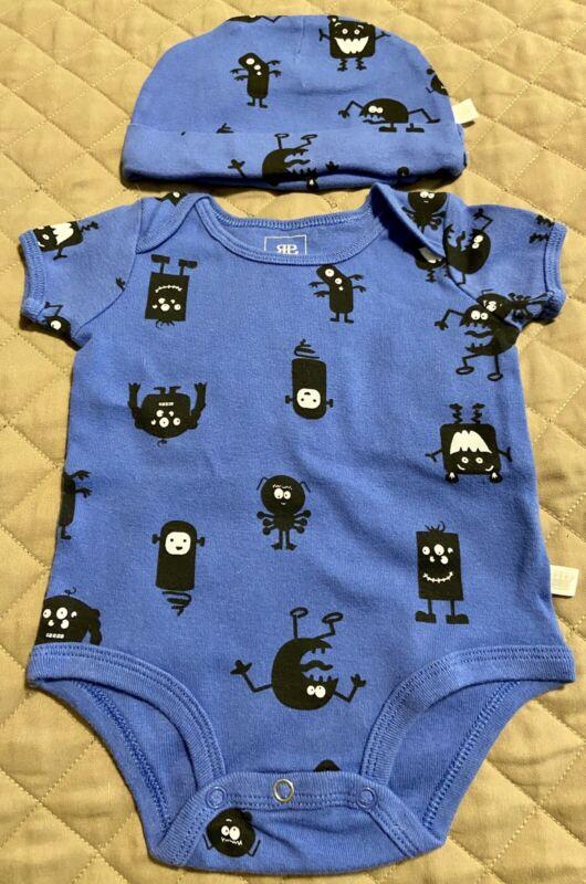 Rosie Pope Baby Boy 3-6 Months/Set of 2/1 piece Bodysuit w/Matching Hat Monsters