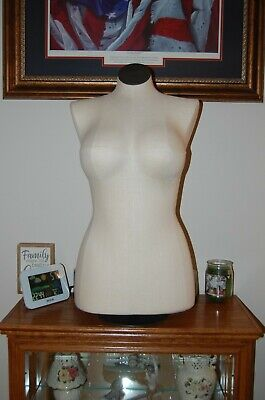Vintage Lifestyle Dress Form Half Body Mannequin Adjustable W Stand Rolling F