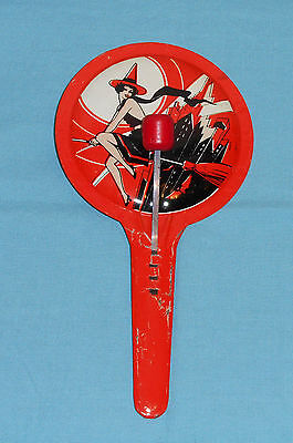 vintage HALLOWEEN orange paddle NOISEMAKER witch with buildings skyline