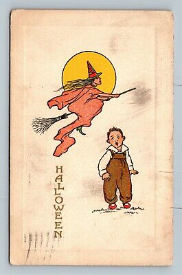 HALLOWEEN Vintage Postcard Flying Witch Across Moon Scared Little Boy c1913