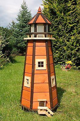 Wunderschöner großer XL Leuchtturm mit Solar Beleuchtung 1,10m braun, LED