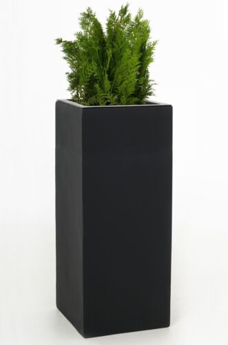 "Blumenkübel Pflanzkübel Fiberglas ""Block ""Anthrazit, 100cm hoch B-Ware TS 462"