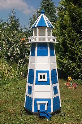 Riesiger XXL Leuchtturm mit Solar Beleuchtung 1,40m blau/weiss, LED, Gartendeko